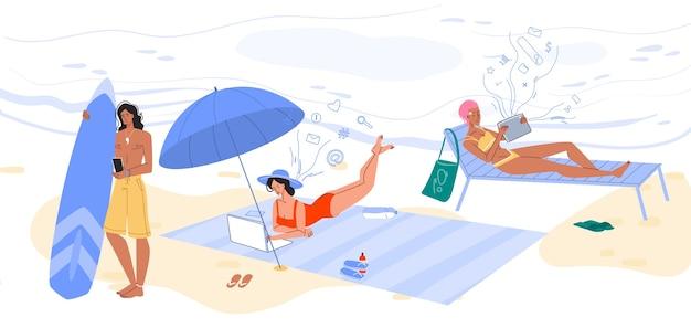 온라인 커뮤니케이션을위한 무선 연결 기술. 나머지 동안 해변에서 서핑을하는 남자 여자는 smarphone, 디지털 태블릿을 통해 연결되어 있습니다. 자연, 모바일 인터넷, 소셜 미디어 개념