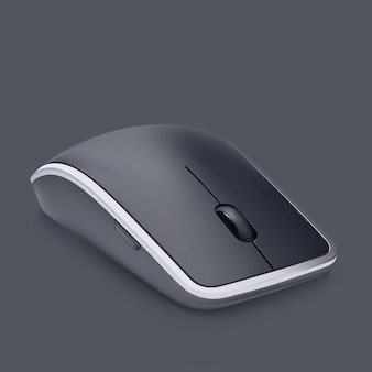 Wireless cutting edge black mouse with wheel isolated on gray