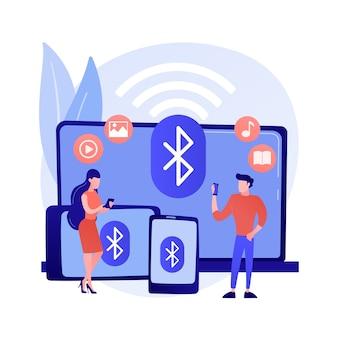 무선 장치 연결 추상 개념 벡터 일러스트입니다. 거리 연결, 원격 표준, 무선 통신, 컴퓨터 네트워크, 문제 해결, 데이터 전송 추상 은유.