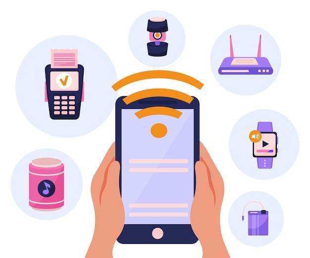 Композиция концепции беспроводных устройств с умными часами, маршрутизатором, планшетом, громкоговорителем и оплатой мобильной картой