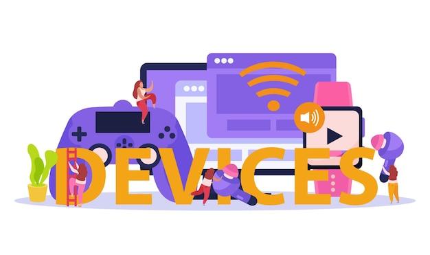 スマートウォッチゲームコントローラータブレットリーダーユーザーがタイトルヘッダーをレタリングするワイヤレスデバイスフラットコンポジション