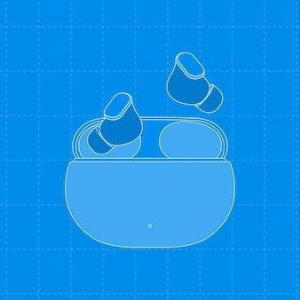 Auricolari wireless, custodia blu, illustrazione vettoriale del dispositivo di intrattenimento