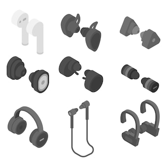Wireless earbuds icons set, isometric style