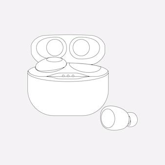 Auricolari wireless, custodia bianca, illustrazione vettoriale del dispositivo di intrattenimento