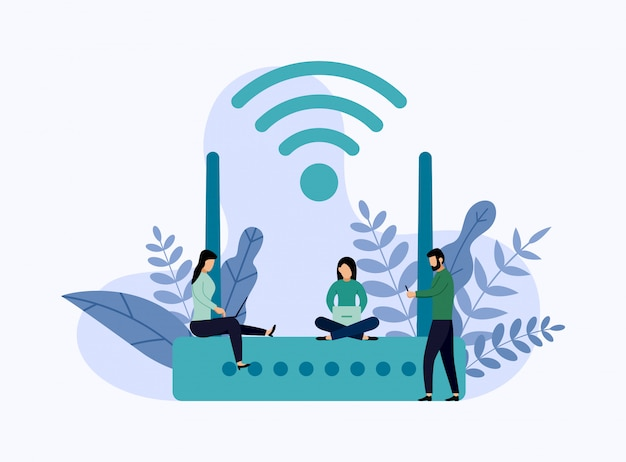 Wireless ethernet modem router with characters, business concept vector illustration