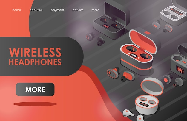 Wireless headphones flat landing page template