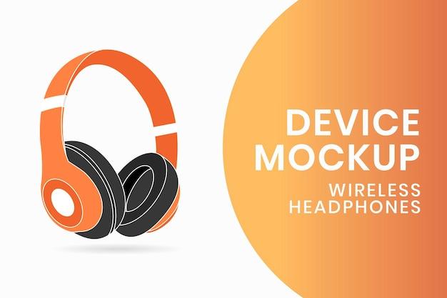 ワイヤレスヘッドフォンのモックアップ、エンターテインメントデバイスのベクトル図