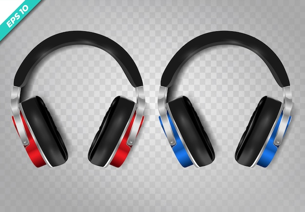 Wireless headphones realistic set on transparent background.
