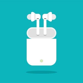 트렌디 한 플랫 스타일의 충전 케이스가있는 무선 헤드폰. 스마트 폰 또는 태블릿 파란색 배경에 고립 된 이어폰.