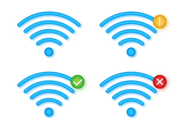 Wireless icon set. no wifi. different levels of wi fi signal. vector stock illustration.