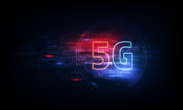 Wireless internet connection background. global network high speed network. 5g symbol on background.