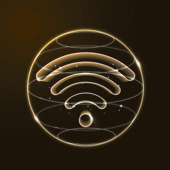 Wireless internet technology icon in gold on gradient background