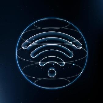 Вектор значок технологии беспроводного интернета в синем на градиентном фоне