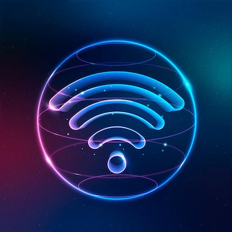 Wireless internet technology icon vector in neon on gradient background