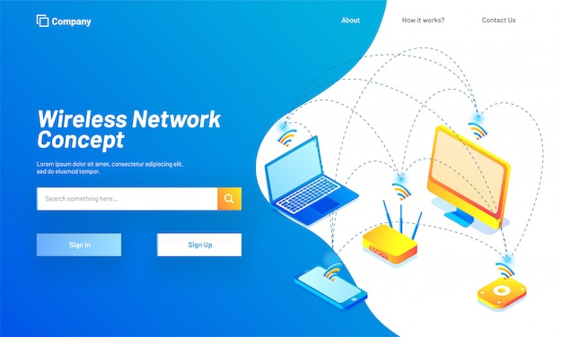 Wireless network concept based landing page design.