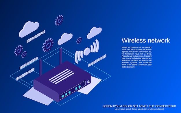 Wireless network flat 3d isometric vector concept illustration