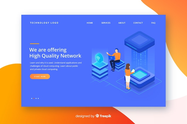 Wireless network landing page template