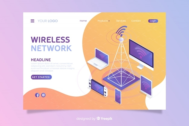 Wireless network landing page