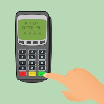 Wireless payment . pos terminal is waiting for entering pin code and human hand press a green button.