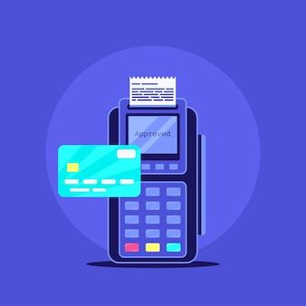 クレジットカード付きのワイヤレス決済端末。フラットスタイルのイラスト。