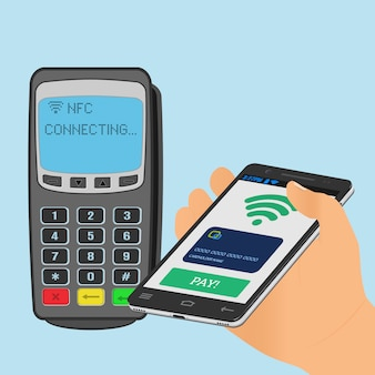Wireless payment with nfc technology using a smartphone.