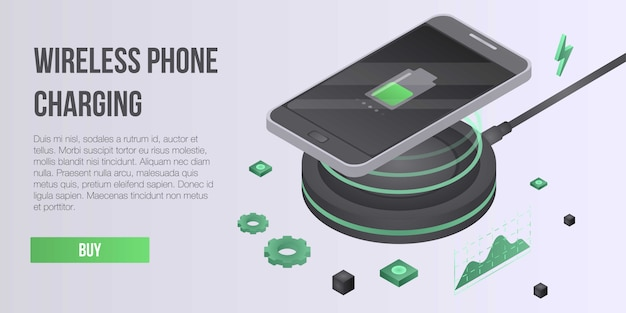 Wireless phone charging concept banner, isometric style