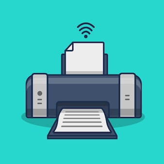 Wireless printer isolated cartoon illustration
