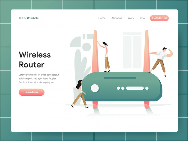 Wireless router  banner of landing page concept Premium Vector