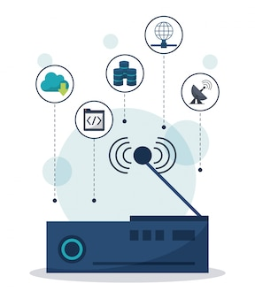 Wireless router in closeup and network communication icons