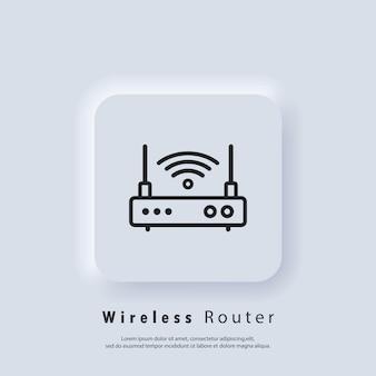 ワイヤレスルーターアイコン。無線lanルーターのアイコンまたはロゴ。ベクターeps10。neumorphic uiuxの白いユーザーインターフェイスのwebボタン。ニューモルフィズム