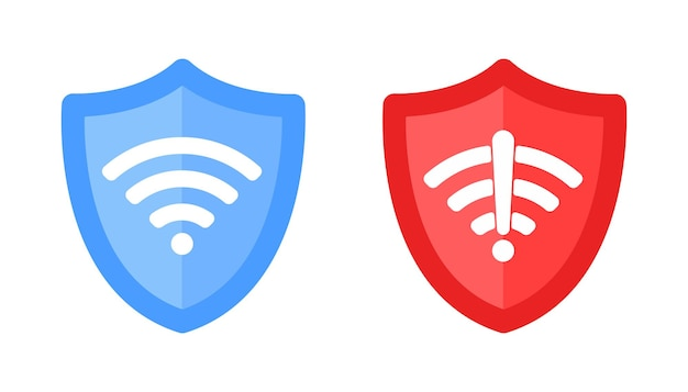 Wireless shield with text vpn and no vpn wifi icon sign flat design