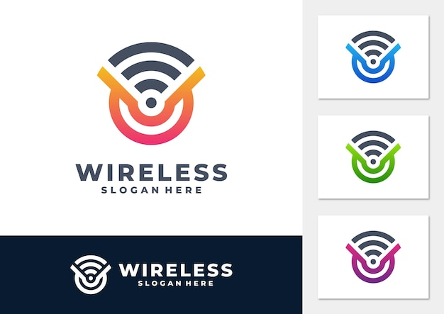 Wireless signal gradient logo vector