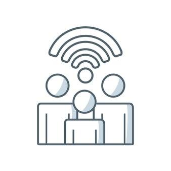Wireless signal waves icon