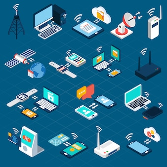 Wireless technologies isometric icons