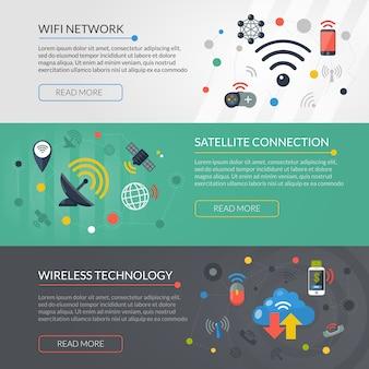 Wireless technology 3 horizontal banners set