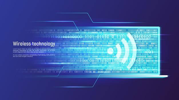ワイヤレス技術とデータ転送の概念。ベクトルイラスト。