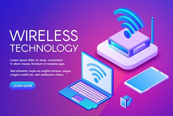 Wireless technology illustration of internet data transfer in digital devices.