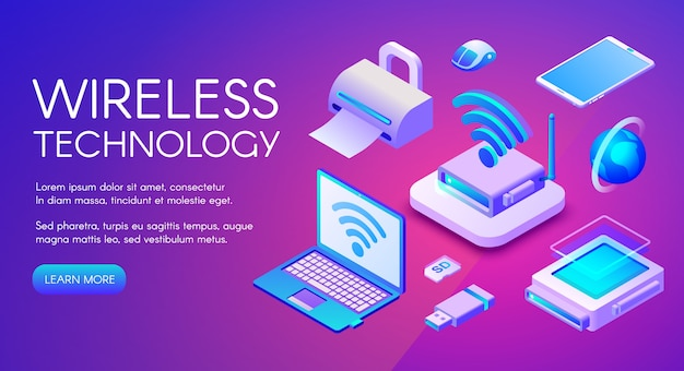 Wireless technology isometric illustration of wi-fi, bluetooth or nfc connection