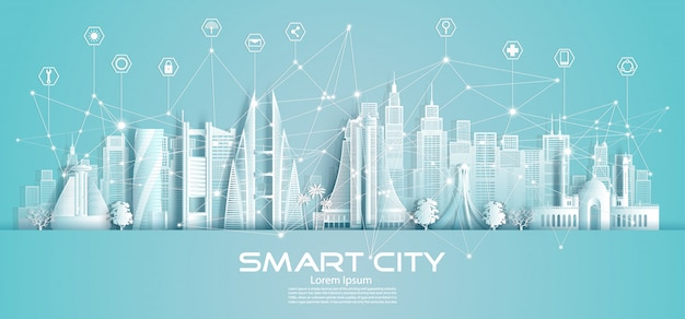 Wireless technology network communication smart city and icon in bahrain. Premium Vector