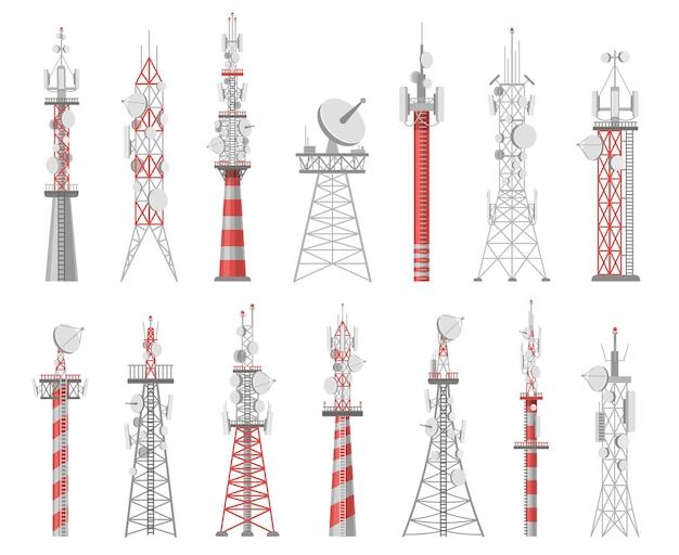 ワイヤレスタワー。通信ネットワークタワー。モバイルおよび無線電波接続システム。通信衛星アンテナベクトルセット。信号用技術建設ステーション