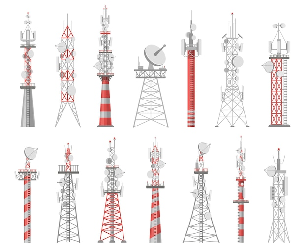 Wireless towers. telecommunication network tower. mobile and radio airwave connection systems. communication satellite antennas vector set. technology construction station for signal