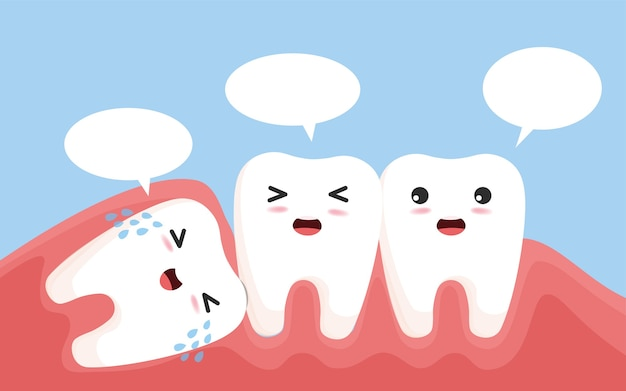 Wisdom tooth push other tooth. impacted wisdom tooth character pushing adjacent teeth causing inflammation, toothache, gum pain.