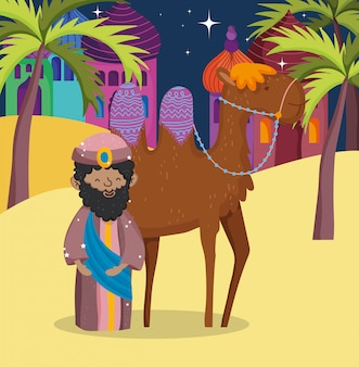 Wise king and camel desert manger nativity, merry christmas