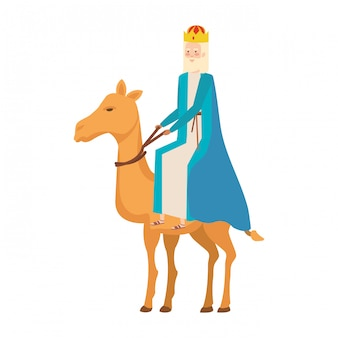 Wise king in camel manger character