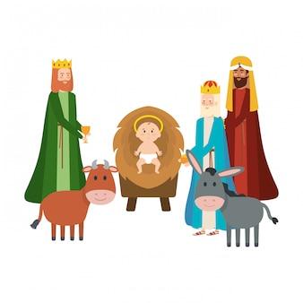 賢明な王とイエスの赤ちゃんの文字 Premiumベクター