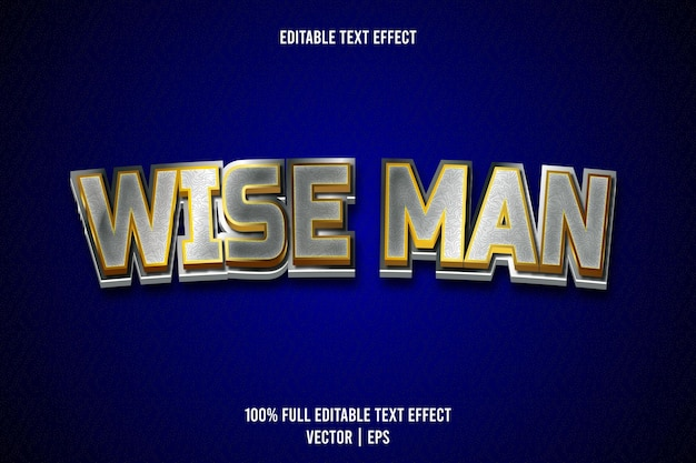 Wise man editable text effect 3 dimension emboss luxury style
