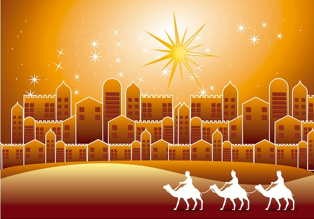 Wise men over nazareth city over evening vector illustration
