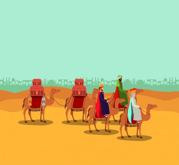 Wise men traveling in the desert christmas scene