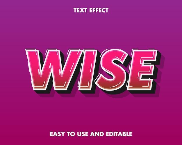 Мудрый текстовый эффект. легко использовать и редактировать. премиум векторные иллюстрации