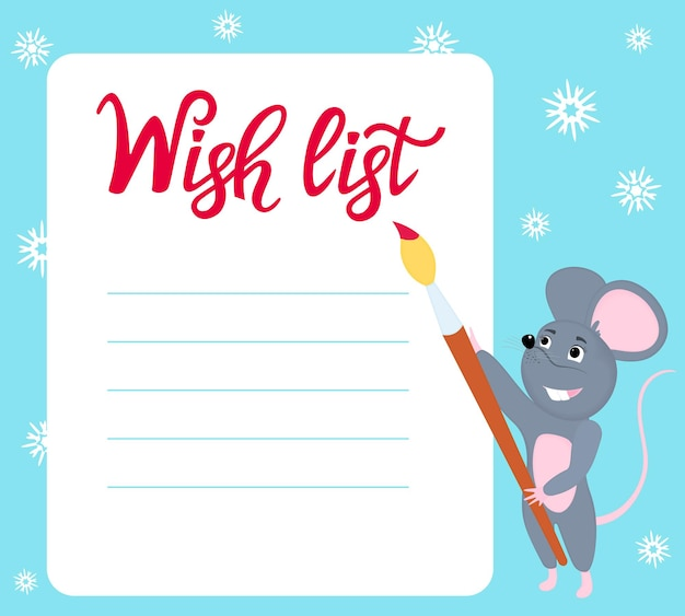 Wish list. little mouse writes wishes for the new year. rat with brush.